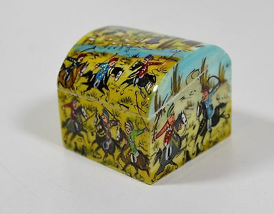 Vintage Bone Carved Hand Painted Small Ring Box, Middle Eastern Cultural