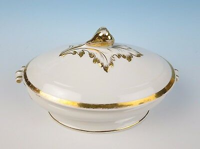 Antique 19th Century Paris Porcelain Oval Tureen w/Fruit Finial Gold Band Old