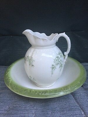 Vintage Homer Laughlin  Green Fern Pitcher and Basin Bowl Raised Patterning