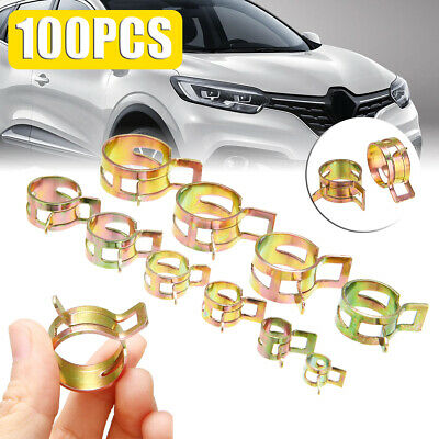100x 6-22mm Spring Clip Fuel Line Hose Water Pipe Air Tube Clamp Fastener