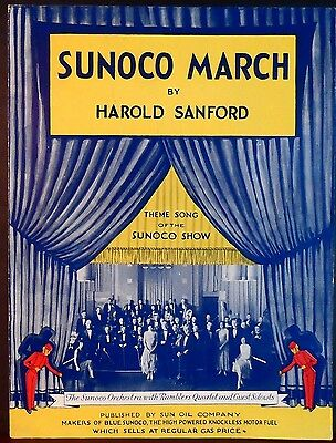 SUNOCO MARCH Vintage Sheet Music Advertisement RAMBLERS QUARTET Auto Car Gas Oil