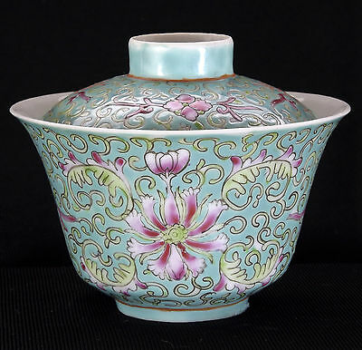 Antique Chinese Lidded Bowl Turquoise Ground Floral Porcelain Guangxu Marked