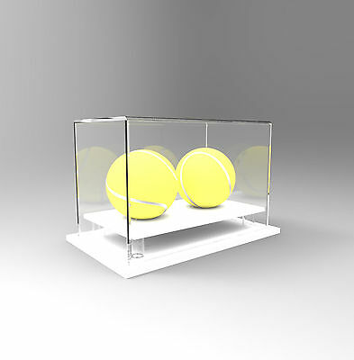 Tennis Double Ball Display Case Acrylic Perspex - WHITE
