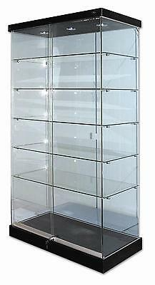 Glass Display 5 Shelf Tower Unit Timbertop and Downlights -1835 x 900 X 460mm