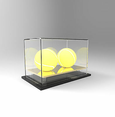 Tennis Double Ball Display Case Acrylic Perspex - GOLD