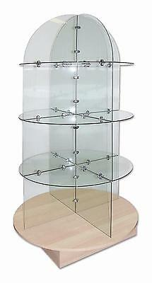Dome Glass Retail Display 3 Shelf Unit 1750 mm Height x 910 mm Showcase Cabinet
