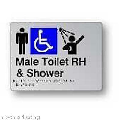 Braille Signage - MALE TOILET RH & SHOWER