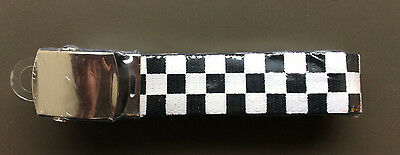 BLACK & WHITE CHECKERED CARGO BELT Bling Punk Rock Goth SKA Rockabilly One Size