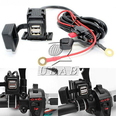Motorcycle ATV 2USB Mobile Phone Power Supply Port Socket Charger 12V Waterproof