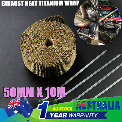TITANIUM HEADER EXHAUST WRAP TAPE Heat Protection 10m x 50mm + 10 S/ Ties