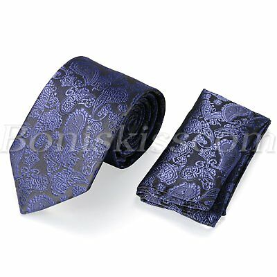 Classic Neck tie Pocket Square Hankie Set Formal Party Wedding For Men's Gift