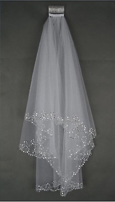 MLT Elbow Beaded Edge Pearl Sequins Wedding Bridal Veil with Comb