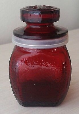 Vintage WHEATON Ruby Red Glass Apothecary Spice Jar (Millville, NJ)