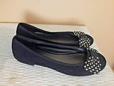 Yellow Box Black Flats with Bling on Toe Size 6.5M