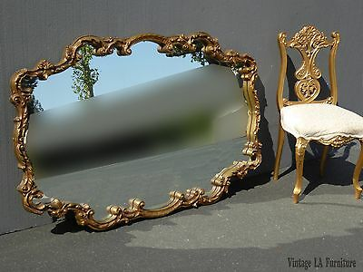 Large Vintage French Provincial ROCOCO Gold Ornate Wall Mantle MIRROR w Scrolls