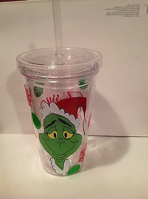 Dr. Suess Grinch 16 oz Acrylic Travel Cup, NEW UNUSED
