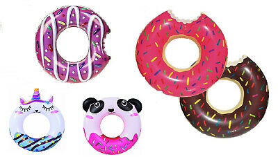 Inflatable DONUT Design Swim Ring Kids Adults Swimming Pool Holidays Summer Play