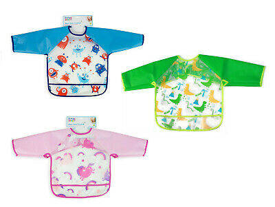Baby Long Sleeve Feeding Bib Waterproof Kids Coverall Art Craft Paint Play Apron