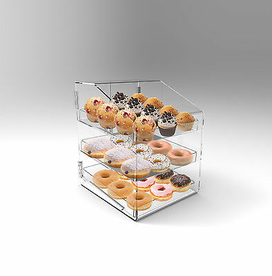 Bakery Display Case 3 Tray Acrylic Perspex Donuts Muffins Cakes Cafes Cookies