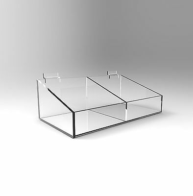 Slatwall Bin Display with Divider - Acrylic Perspex - 295mm Width