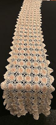 """Great Vintage Off-White Ecru Crocheted Table Runner 68"""" x 9""""  W/ Matching Doily"""