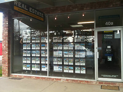Cable Display System 4 x A4 Acrylic Pocket - Real Estate /Travel Agent Windows