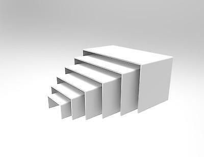 6 Piece Display Riser Stand Set  Acrylic Perspex WHITE 4.5 mm  - Displays
