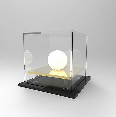 Golf Ball Display Case Acrylic Perspex : Hole in One / Competition Ball - GOLD