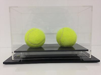 Tennis Double Ball Display Case Acrylic Perspex - BLACK