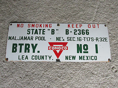 1940's Advertising Porcelain Sign Conoco Maljamar Pool Oil Well Lea County NM