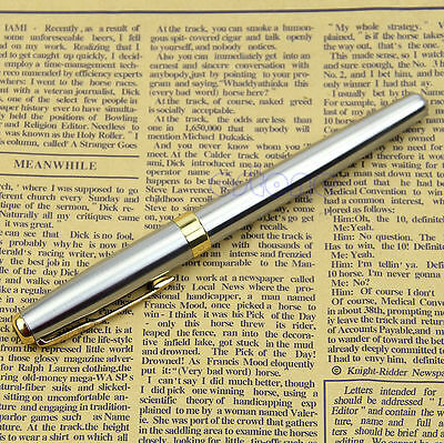 BAOER 388 Chic Stainless Steel Fountain Gold Trim M Nib Size Pen Silver