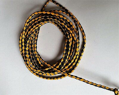 New Genuine Leather 2 Color Braided Bolo Cord For Vest Black/mustard (Set Of 2)