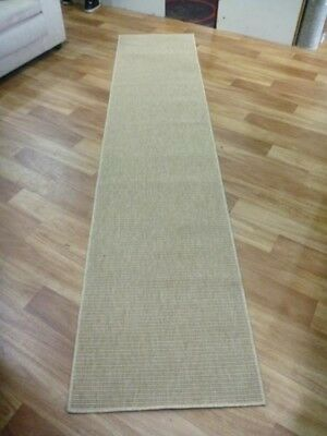 Sisal Look Indoor Outdoor Hall Runner 66x300cm Boucle Weave Sand