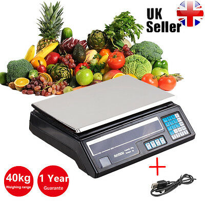 40kg Electronic Digital Weighing Scale kitchen LCD Industrial Commercial Scale