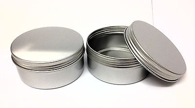 6 x 150ml Aluminium Metal Pot container,screw on lid - crafts, candles, Empty