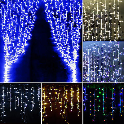 96/128/216/300 LED Icicle Hanging Curtain Lights Fairy String Christmas Wedding
