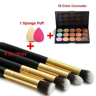 20 Colors NEW Contour Face Cream Makeup Concealer Palette Sponge Powder Brush GT