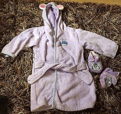 Baby Girls 0-12 Months Purple Bunny Dressing Gown & Slippers - Avon - Great Cond