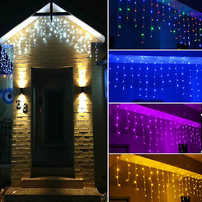 LED Icicle Snowing Waterfall Curtain String Light Fairy Christmas Wedding Decor
