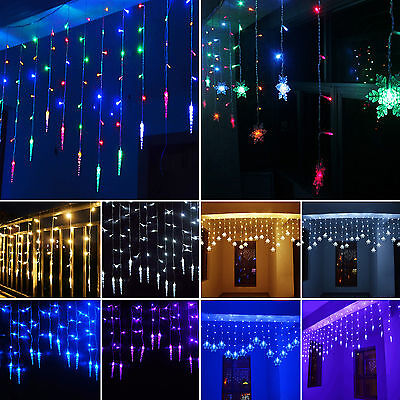 96 LED Snowflake Snowing Curtain Fairy String Lights Christmas Party Lamp Decor