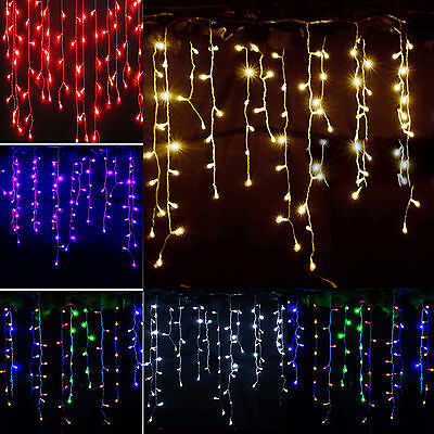 Icicle Snowing Hanging Curtain Fairy String Lights Christmas Indoor Outdoor Deco