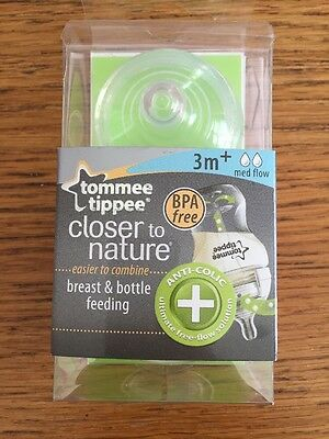 Tommee Tippee Closer To Nature Breast And Bottle Feeding 2 X Medium Flow Tears