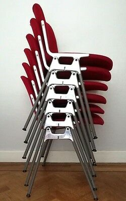 Vintage industrial giancarlo piretti stacking chairs x 4 mid century retro red