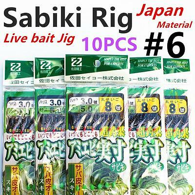 10 X Sabiki (Japan), Size #6, Live Bait Jigs, Yellow Tail, Fishing Rig, #white10