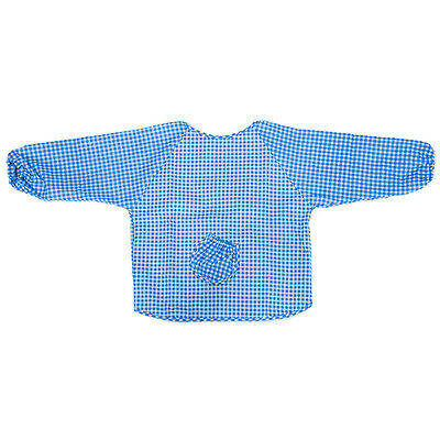 WD Baby Long Sleeve Apron Overall Food Catcher Bib Waterproof,blue