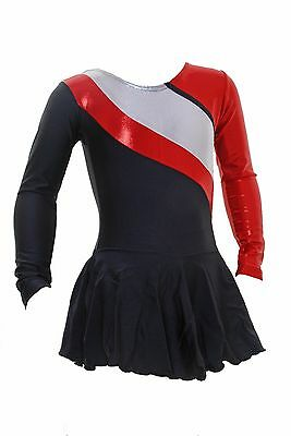 Skating Dress - BLACK LYCRA /red/Silver HOLOGRAM  ALL SIZES AVAILABLE