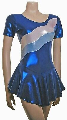 Ice Skating Dress- BLUE SHEEN / BLUE SIVER SHEEN- ALL SIZES - Calais SS