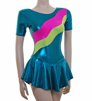 Ice Skating Dress - TEAL SHEEN / Pink green SHEEN- ALL SIZES - INTEGRATE