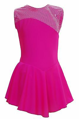 Skating Dress -TOFEE PINK LYCRA / Metalic top NO SLEEVE ALL SIZES AVAILABLE