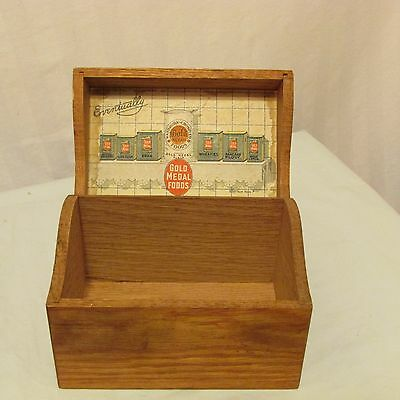 Gold Medal Flour Advertising Recipe Box Wood Vintage Brass Home Service Recipes